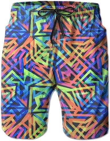 LXP FZD Neon Geometric Print Mens Swim Trunks Lightweight Surf Board Shorts Beach Pant Sportswear