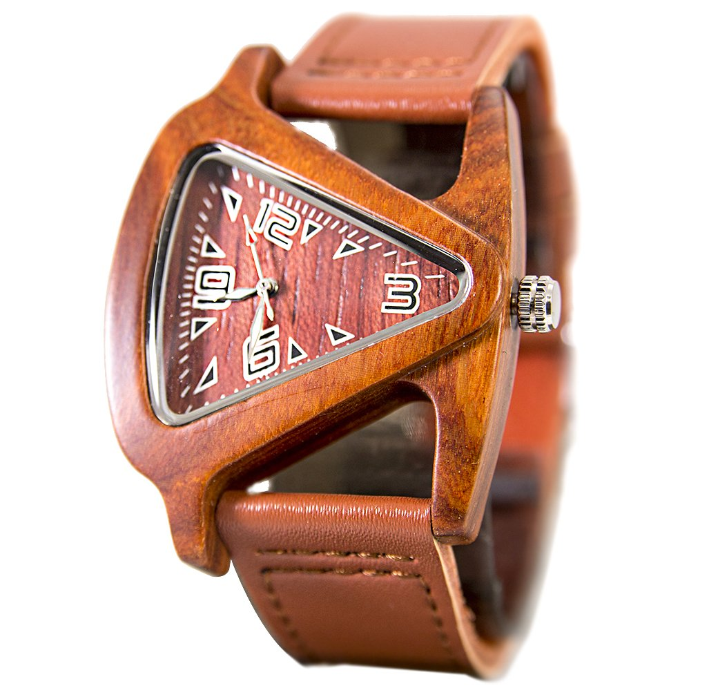 Unisex Triangle Red Wood Watch With Genuine Leather Band, Anniversary Gift, Gift for Her