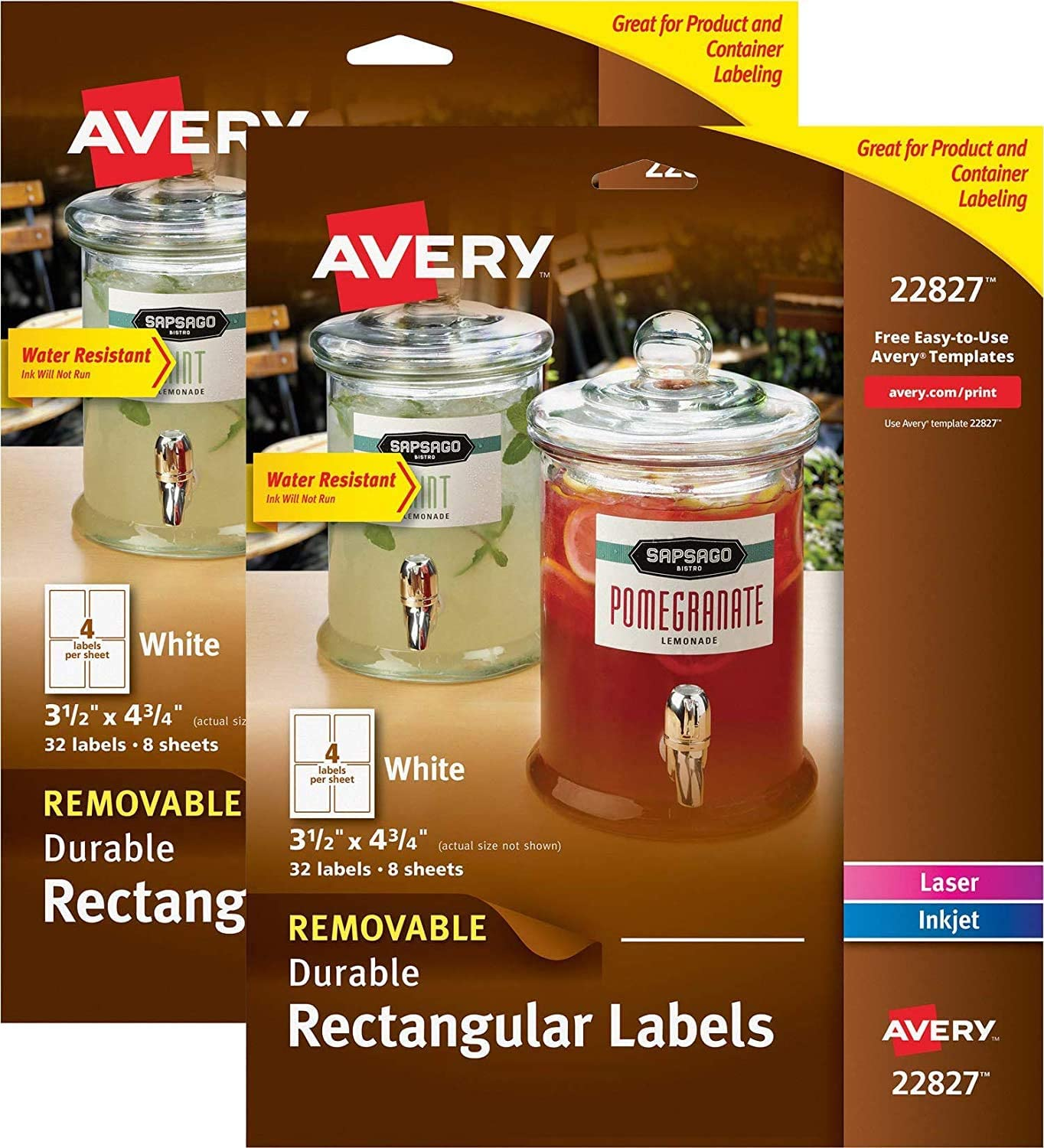 Avery Removable Labels for Laser & Inkjet Printers, 3.5