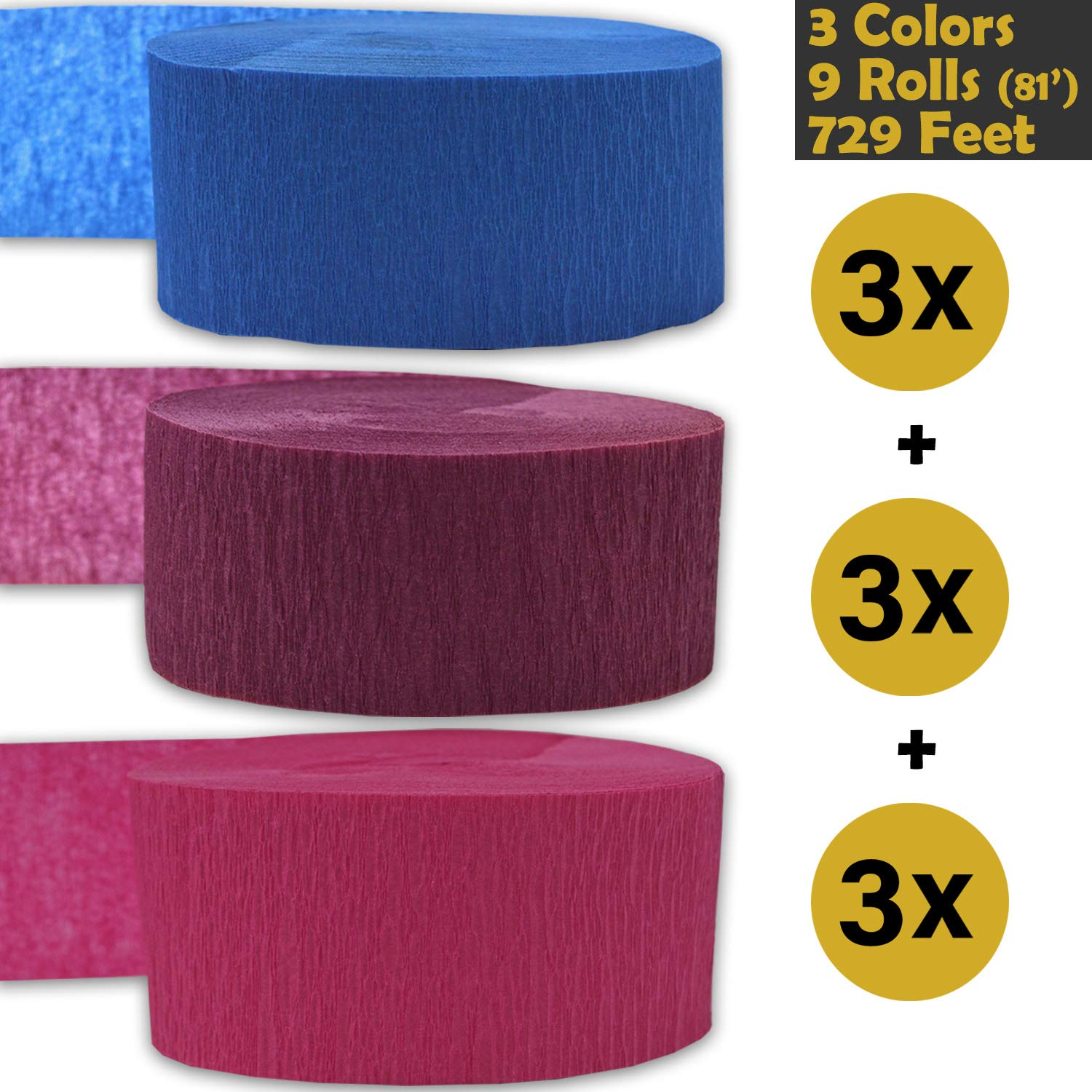 3 rolls per color, 81 foot each roll Sapphire Blue Sangria Flame Resistant Bleed Resistant 9 rolls Hot Pink - For party Decorations and Crafts 3 Colors 739 ft 243 per color Made in USA Crepe Party Streamers