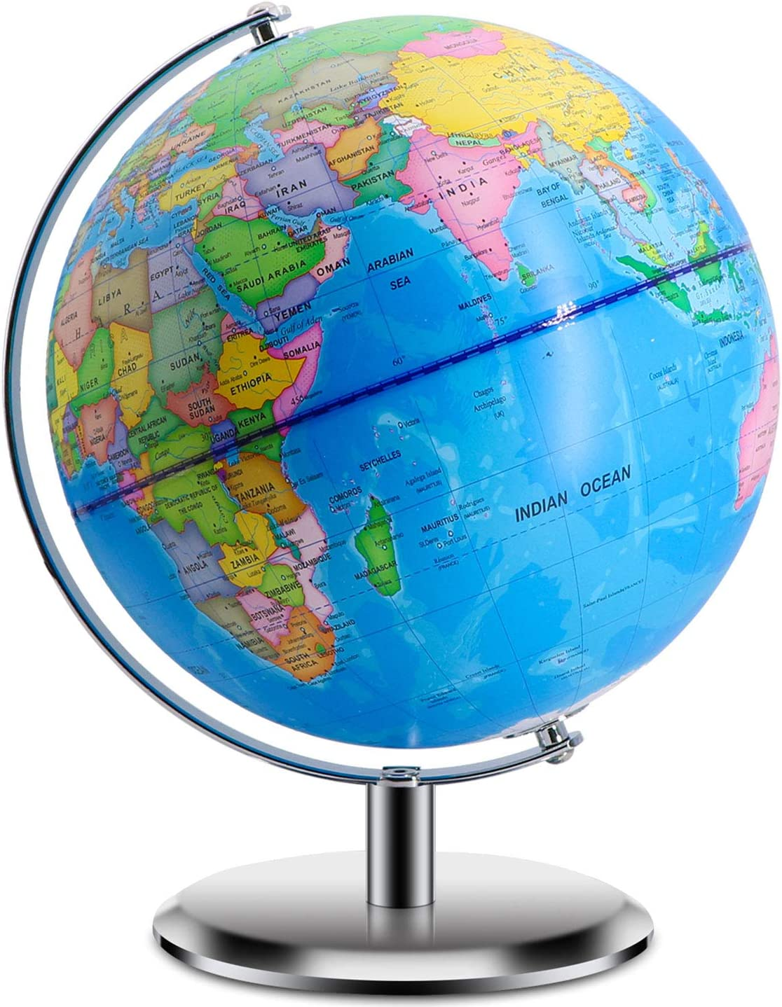 Amazon Com World Globe With Stand Adults 9 Inch Diameter Geographic Globes Discovery World Learning Toys Globe For Kids Office Products