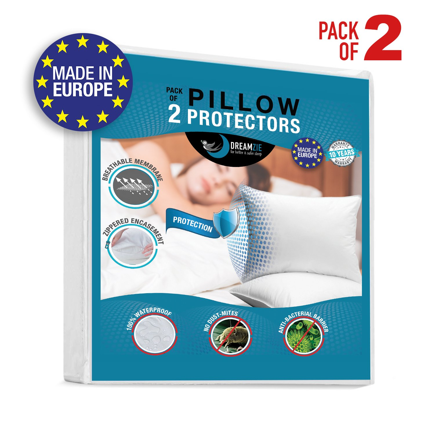 Dreamzie 2x Waterproof Pillow Covers (30 x 50 cm) Breathable, Hypoallergenic, Anti-Dust Mite, Anti-Bacterial Pillow Protect - New Generation BiOme Treatment with OEKO-TEX 100 and 10 Year Warranty BMS International
