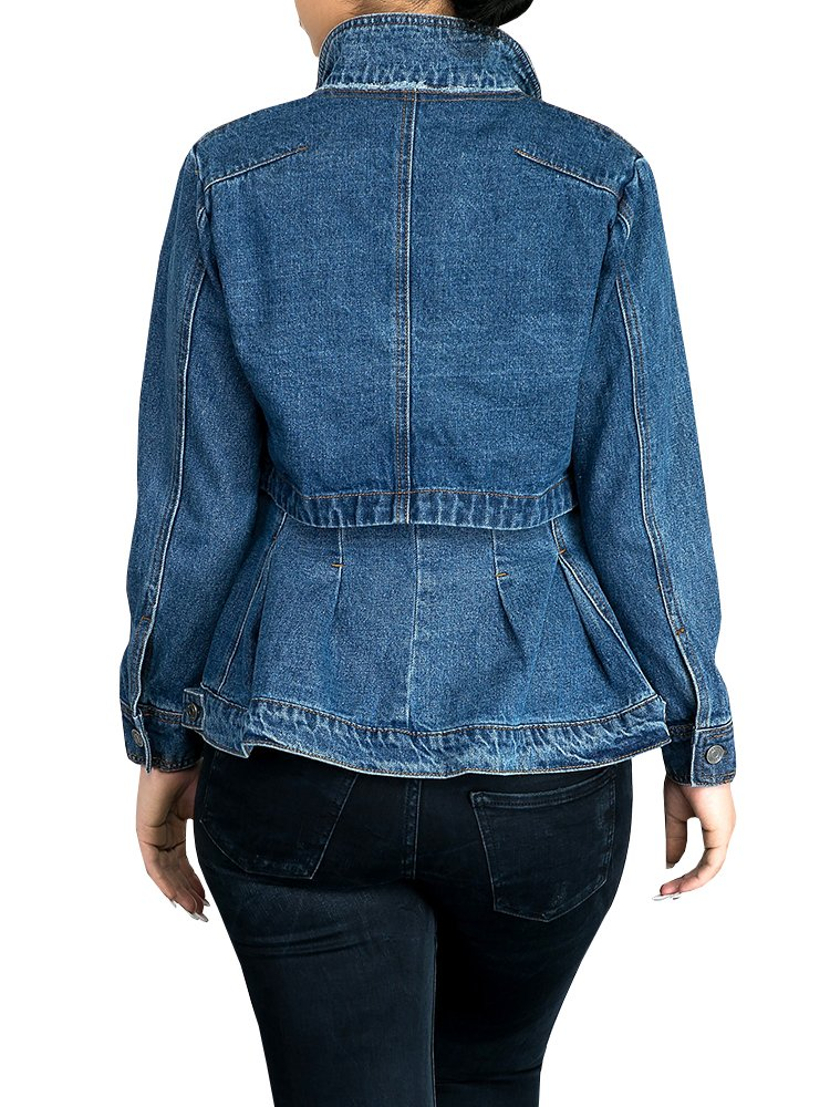 Misassy Womens Vintage Slim Fit Cape Up Peplum Button Down Denim Jean Jacket With Asymmetry Ruffle Hem Plus Size by Misassy (Image #3)