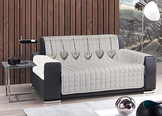 HomeLife – Cubre sofá con Corazones Colgantes – Protector de sofá Antideslizante de algodón – Protector Acolchado contra el Polvo, Las Manchas y el Desgaste – 100% 2 plazas, Beige: Amazon.es: Hogar