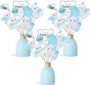 Faisichocalato Blue Elephant Centerpiece Sticks DIY Baby Boy It's A Boy Table Decorations Blue Little Peanut Cutouts for Blue Elephant Theme Baby Shower Birthday Party Supplies Set of 24