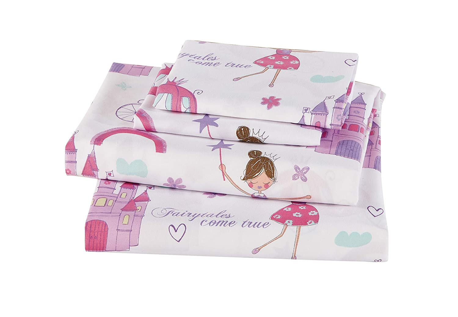 Linen Plus Full Size 7pc Comforter Set for Girls//Teens Fairy Tales Castle Princess Carriage Pink Lavender White New
