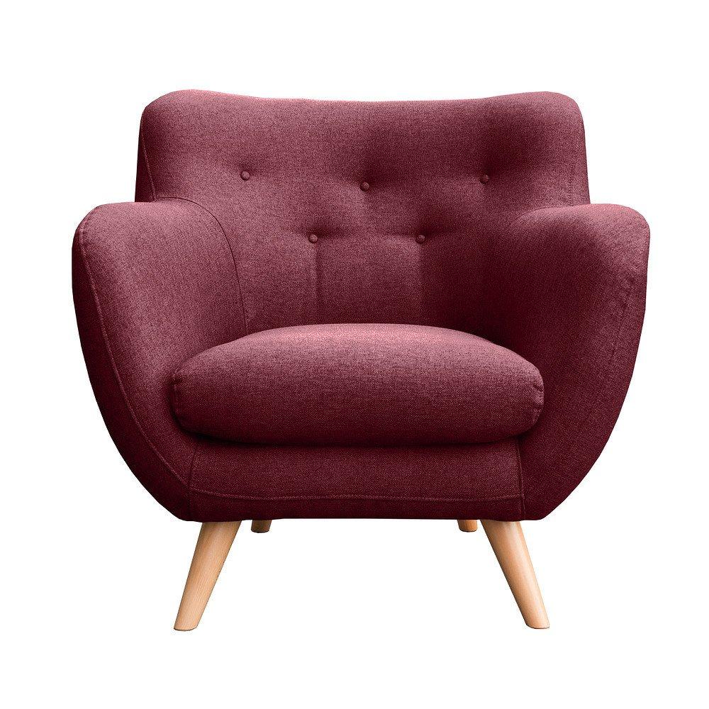 myHomery Sessel Adele gepolstert - Polsterstuhl für Esszimmer & Wohnzimmer - Lounge Sessel mit Armlehnen - Eleganter Retro Stuhl aus Stoff mit Holz Füßen - Bordeaux | Sessel