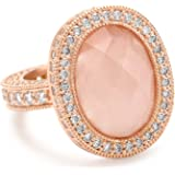 """Freida Rothman """"Blush"""" Collection Rose Gold-Plated Sterling Silver and Rose Quartz Ring"""