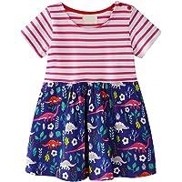Vestidos de Bebé Niña, Vestidos Lindos de la Ropa de Verano Vestidos de Falda de Manga Corta de impresión de algodón…