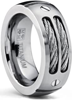 8mm Men BlackSilver Titanium Wedding Band with Stainless Steel