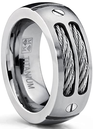 Mans Stainless Steel Ring Wedding Band with Steel Cables and Screws 10mm nyfGz