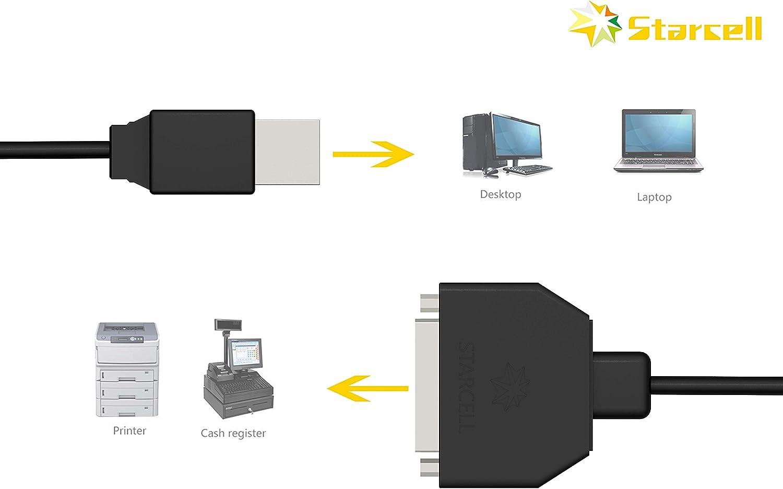 Act - Cable USB 2.0 para Impresora de 480 Mbps (USB A a B Macho, para HP, Canon, Lexmark, Epson, DELL, Xerox, Samsung, etc. 1,5 m), Color Negro USB to Parallel: Amazon.es: Informática