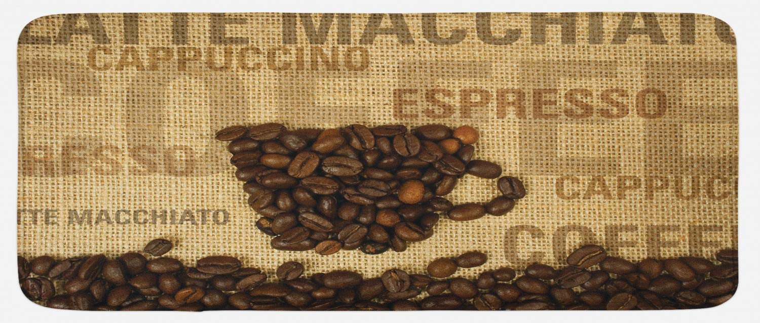 Ambesonne Coffee Kitchen Mat, Coffee Beans Shaped in Mug and Coffee Types Letterings Art Print, Plush Decorative Kithcen Mat with Non Slip Backing, 47 W X 19 L Inches, Dark Brown and Pale Brown