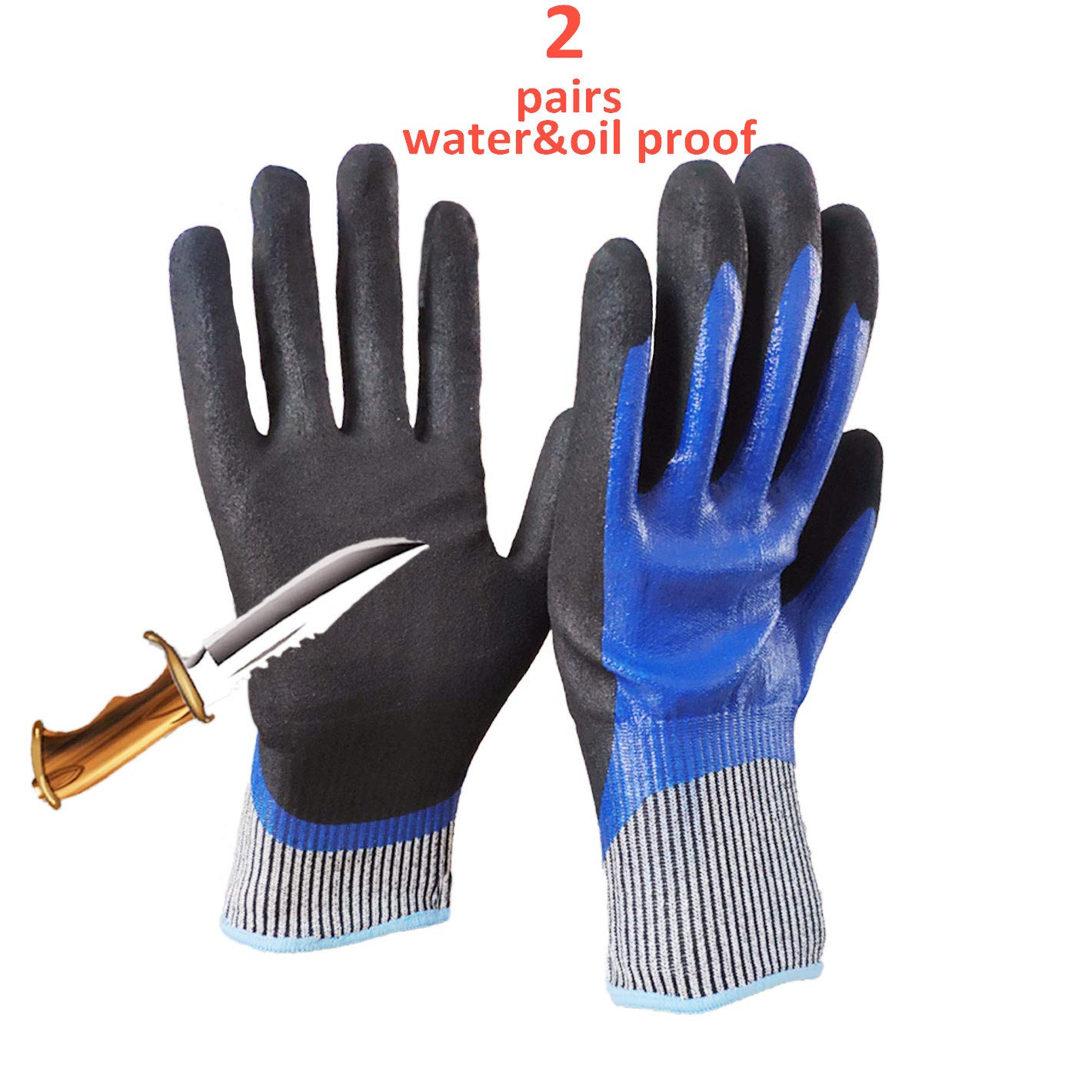 5 Level Cut-Resistant Waterproof Safety Protect Hand Gloves Nitrile and Latex Dual Palm Coated for Gargen work, Industrial production, Glasses handling, Indoor and Outdoor working (L-2pairs) by Safety Hands (Image #1)