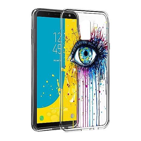 Eouine Coque Samsung Galaxy J6 2018, Etui en Silicone 3D Transparente avec  Motif Fun Fantaisie 9dc9c1cc19b7