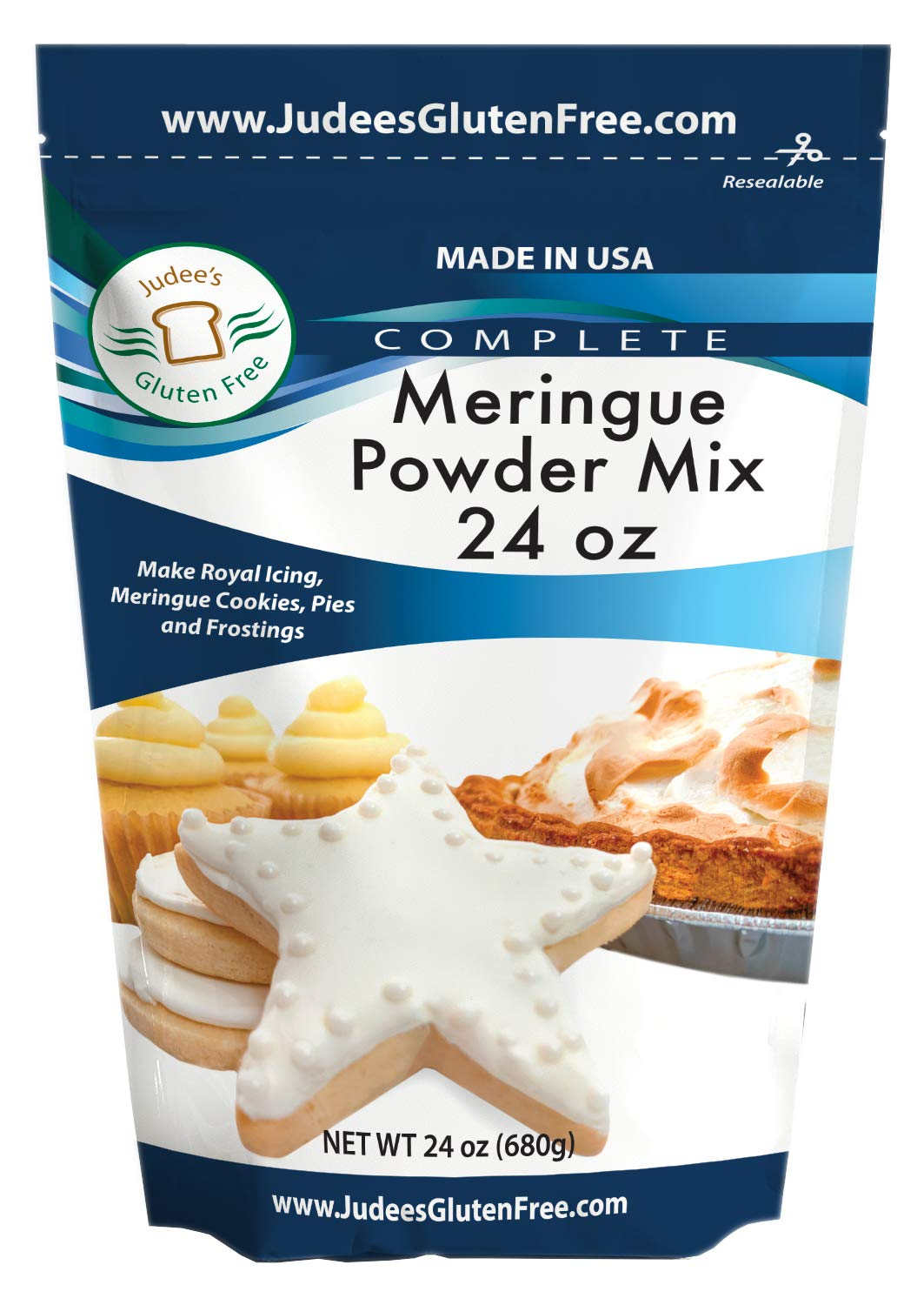Judee's Meringue Powder Mix 1.5 lb (24 Oz) - Make Cookies, Pies, and Royal Icing. Complete Mix: Just Add Water. USA Made in a Dedicated Gluten & Nut Free Facility, No Preservatives