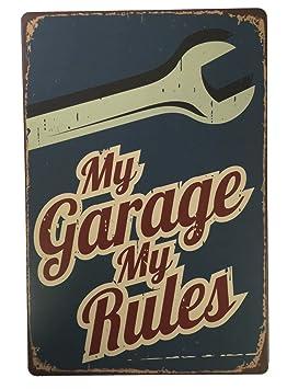 Mi garaje mi reglas placa de metal