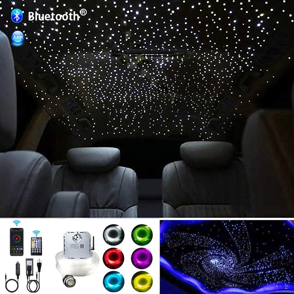 AKEPO 32W RGBW APP+Twinkle+Music Control Fiber Optic Lights Kit Star Ceiling Sky Light, 400pcs of Mixed Φ (0.75+1+1.5+2mm) 13.1ft/4m Optical Fiber Cable and Crystals for Car & Media Movie Room Decor