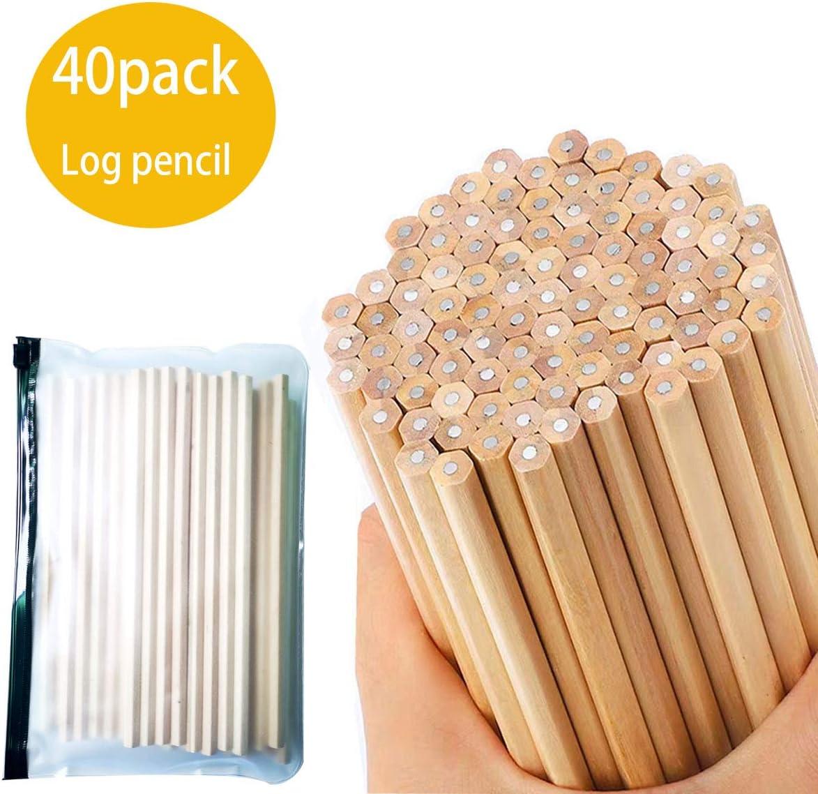 Hexagonal HB pencils 40 natural wood grain pencils childrens stationery