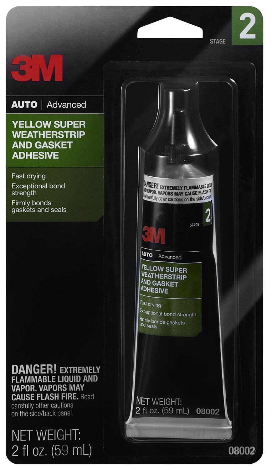 3M 08002 Yellow Super Weatherstrip and Gasket Adhesive Tube - 2 oz.