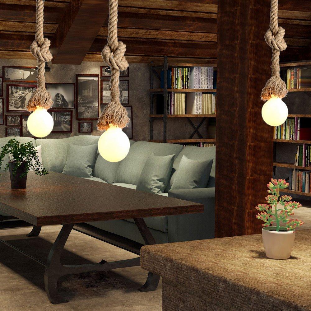 douille unique, ampoule nest pas inclus Lustre corde chanvre Lixada 50cm AC 220V E27 Vintage Style R/étro Lampe Suspension Corde pour Restaurant Bar Cafe Lighting Utilisation