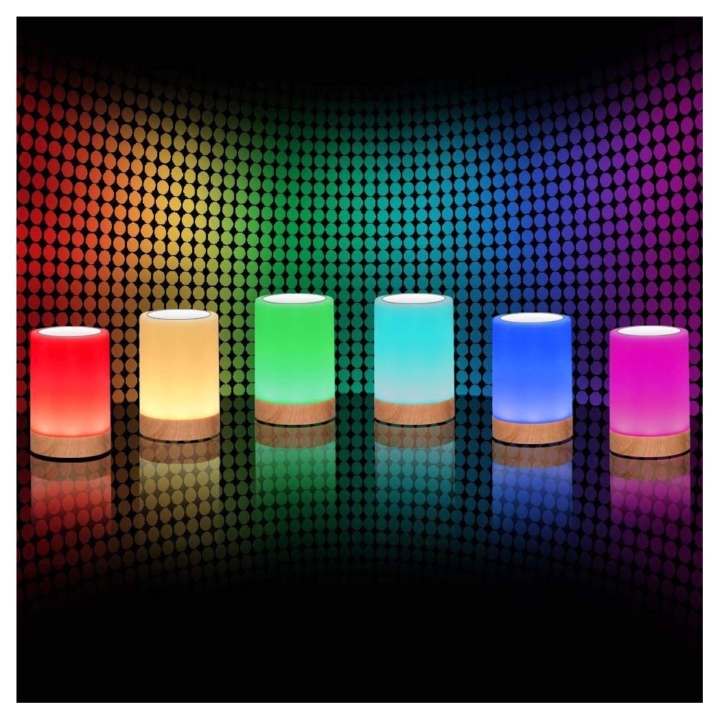ROYFACC Night Light Touch Sensor Lamp Bedside Table Lamp for Kids Bedroom Rechargeable Dimmable Warm White Light + RGB Color Changing by ROYFACC (Image #2)
