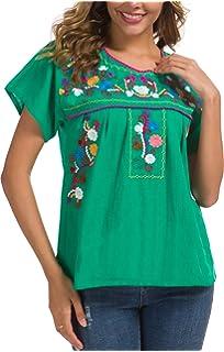 Amazon.com: Mexicano Flores Mujeres Blusa hecho en Yucatán ...