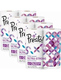 Amazon Brand - Presto! 308-Sheet Mega Roll Toilet Paper, Ultra-Strong, 24 Count