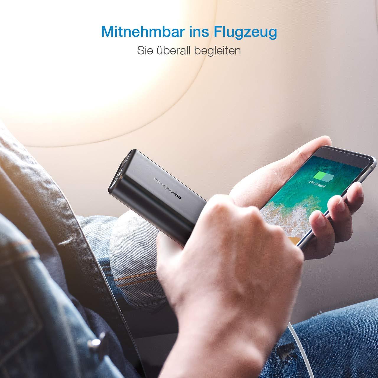 POWERADD EnergyCell 20000mAh Powerbank mit Power Delivery, PD 18W Externer Akku mit USB C Anschluss, schnelles Laden für iPhone Samsung Smartphone, Schwarz