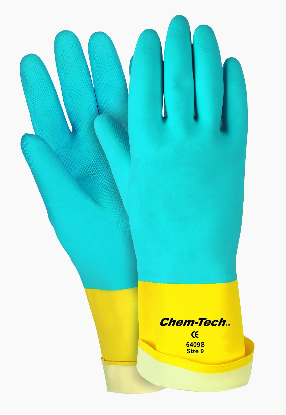 MCR Safety 5409S 9-1/2-Inch Chem-Tech Seamless Nitrile Rubber Gloves with Straight Cuff and Flocked Lining, Blue/Yellow, Large, 1-Pair