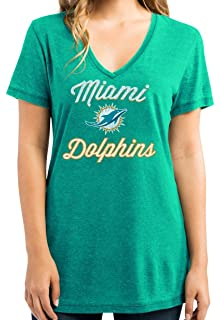 68826f13fecd Majestic Women's Miami Dolphins Heather Aqua Deep V Neck Day Game 2 Tee  Shirt