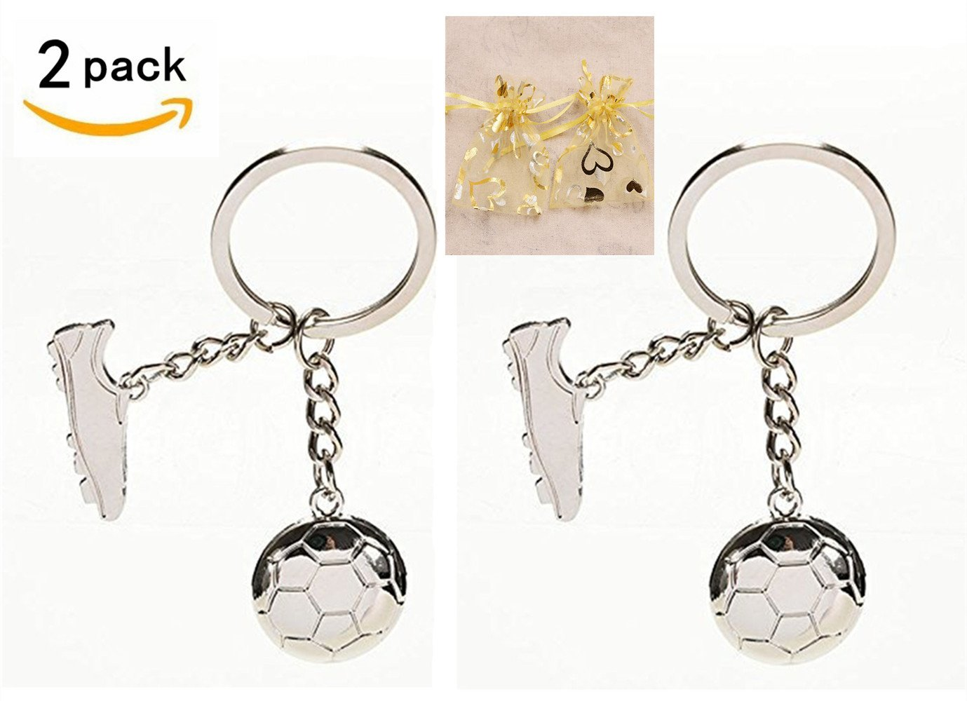 2 Pack Soccer Keychains - Soccer Ball and Shoe