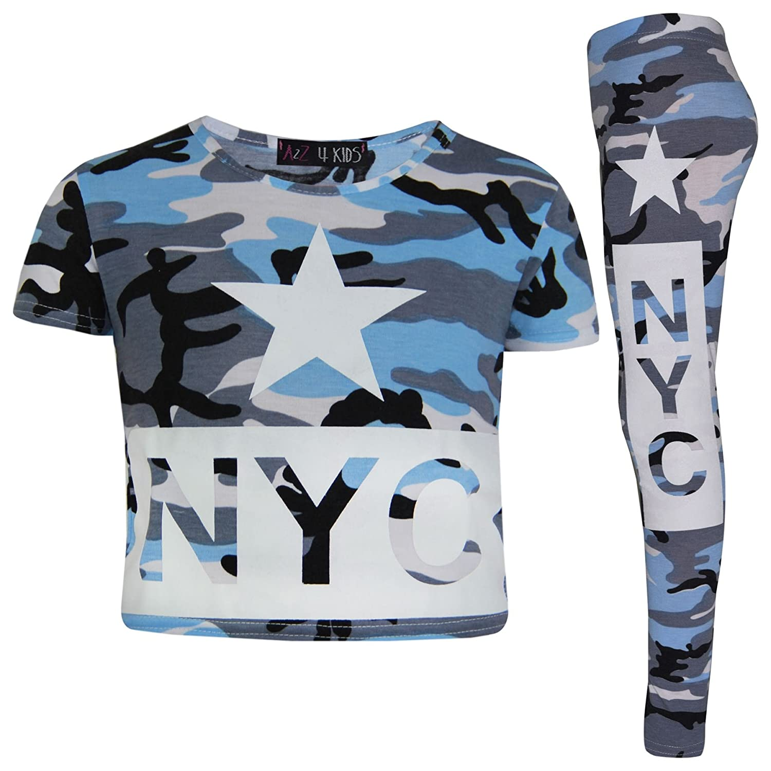 A2Z 4 Kids® Girls Top Kids NYC Camouflage Print Trendy Crop Tops & Fashion Legging Set Age 7 8 9 10 11 12 13 Years