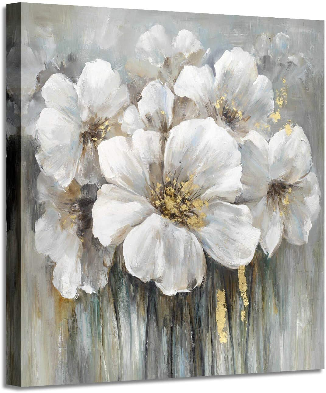 Amazon Com Wall Art Botanical Pictures Painting White Lily Bouquet Of Flowers Picture Floral Artwork On Wrapped Canvas For Walls 28 W X 28 H Multi Sized Posters Prints