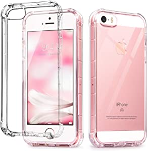 iPhone SE Clear Case, IDweel iPhone 5s case, iPhone 5 case, Clear Slim Fit 5/5S/SE Case with Transparent See Through Flexible Anti-Scratch Soft TPU Bumper Shock-Absorption Cover