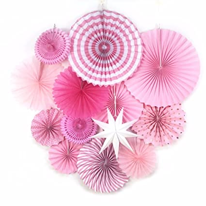 Amazon 13pcsset Pink Paper Fan Flowers Decorations For Wall