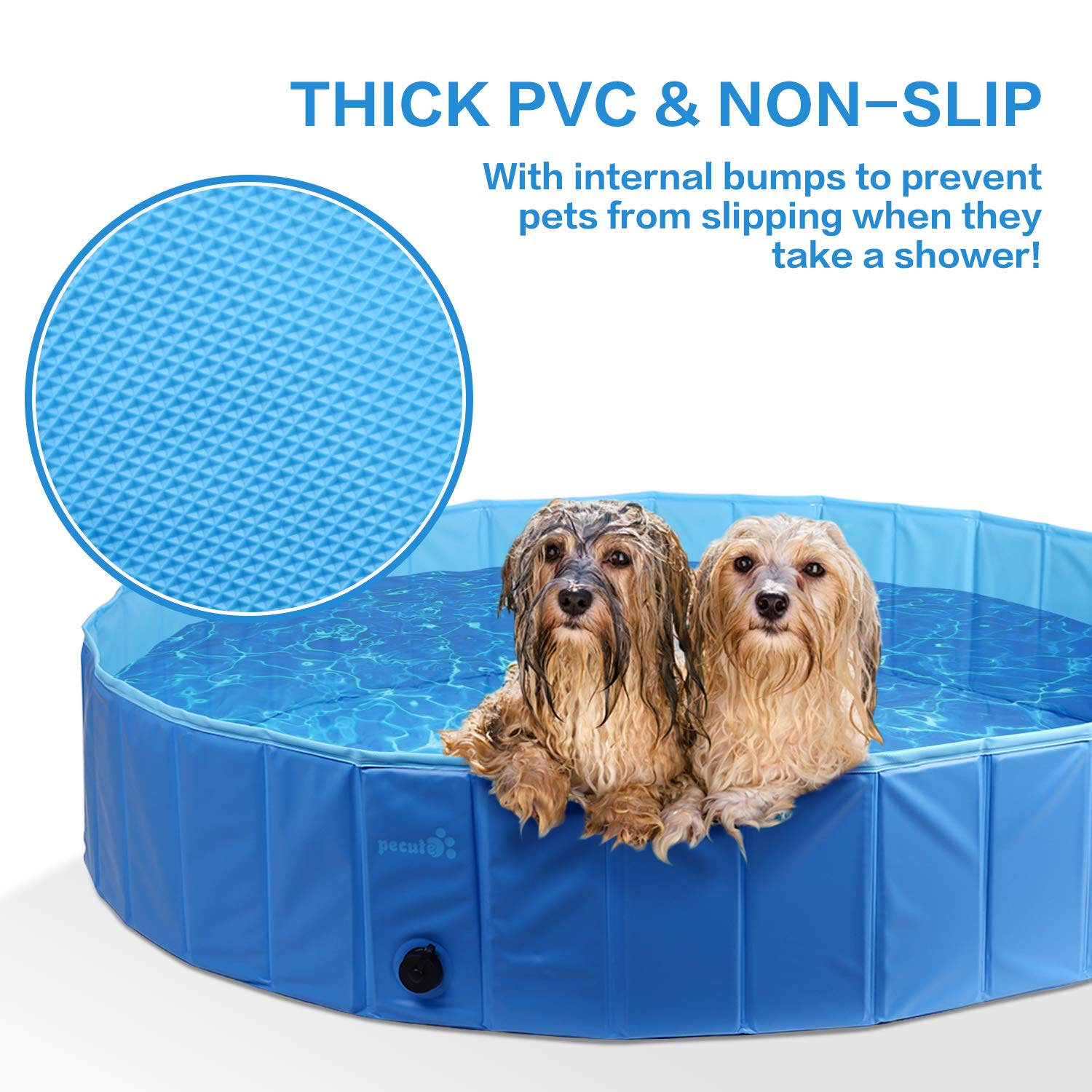Pecute Dog Pool PVC Outdoor Pool Bathing Tub Portable Pet Playing Pool for Dogs Cats and Kids -(Small,Φ32 × H8 Inches)