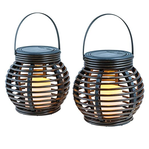 TOOGOO Lampara LED solar Lampara de ratan Juego de 2 lampara solar ...