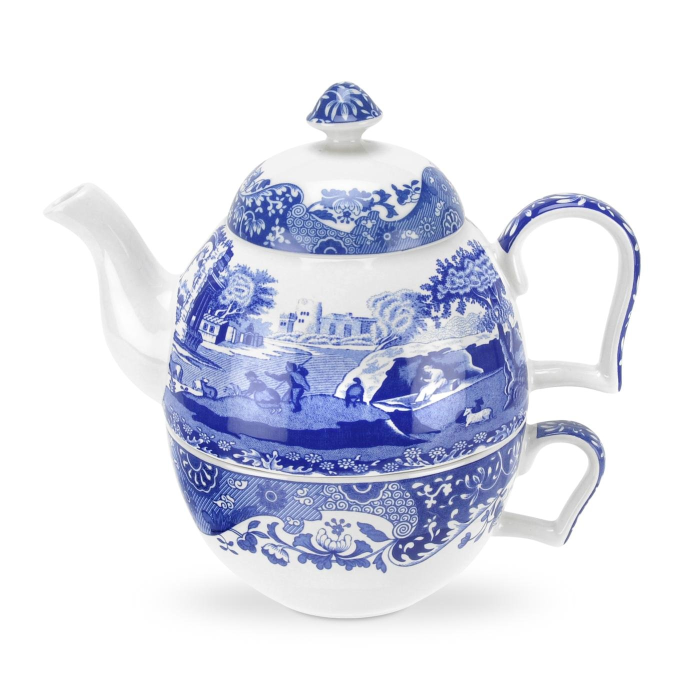 Bleu//Blanc Italienne Bleu 0.45/Litre /à th/é en Porcelaine pour Une Personne