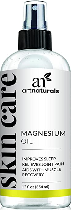 ArtNaturals Pure Magnesium Oil Spray 12 Oz – Essential Natural Deodorant - Reduces Migraines, Sore Muscle, Joint Relief, Stress, Anxiety, Period Pains and Sleep Aid