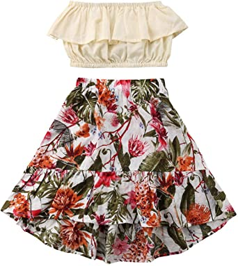 Baby Girls Ruffle Outfit Set Toddler Kids Stripe Off Shoulder Tube Top Skirt Summer Clothes
