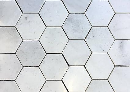 Carrara White 4 Hexagon Polished Marble Mosaic Tile Backsplash Wall
