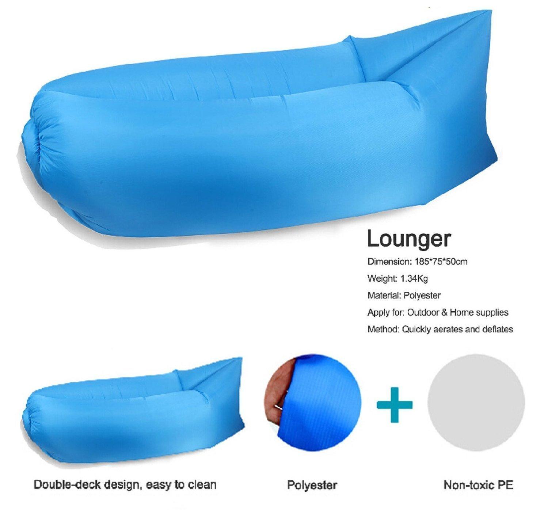 Gigante puf, y & M (TM) tumbona globo, globo de relleno de compresión de playa tumbona conveniente al aire libre de poliéster muebles llenos de aire ...