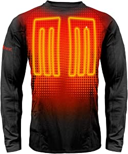 ActionHeat Base Layer Battery Operated Heated Shirt for Men – Electric Heated Clothing w/ 3 Heat Panels for Winter Innerwear, Outdoor Camping, Skiing, Hunting - Black