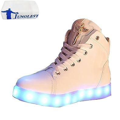 [Presente:pequeña toalla]Blanco EU 35, JUNGLEST® Chicas Luminous manera Zapatos Altas Luz Zapatillas Flas