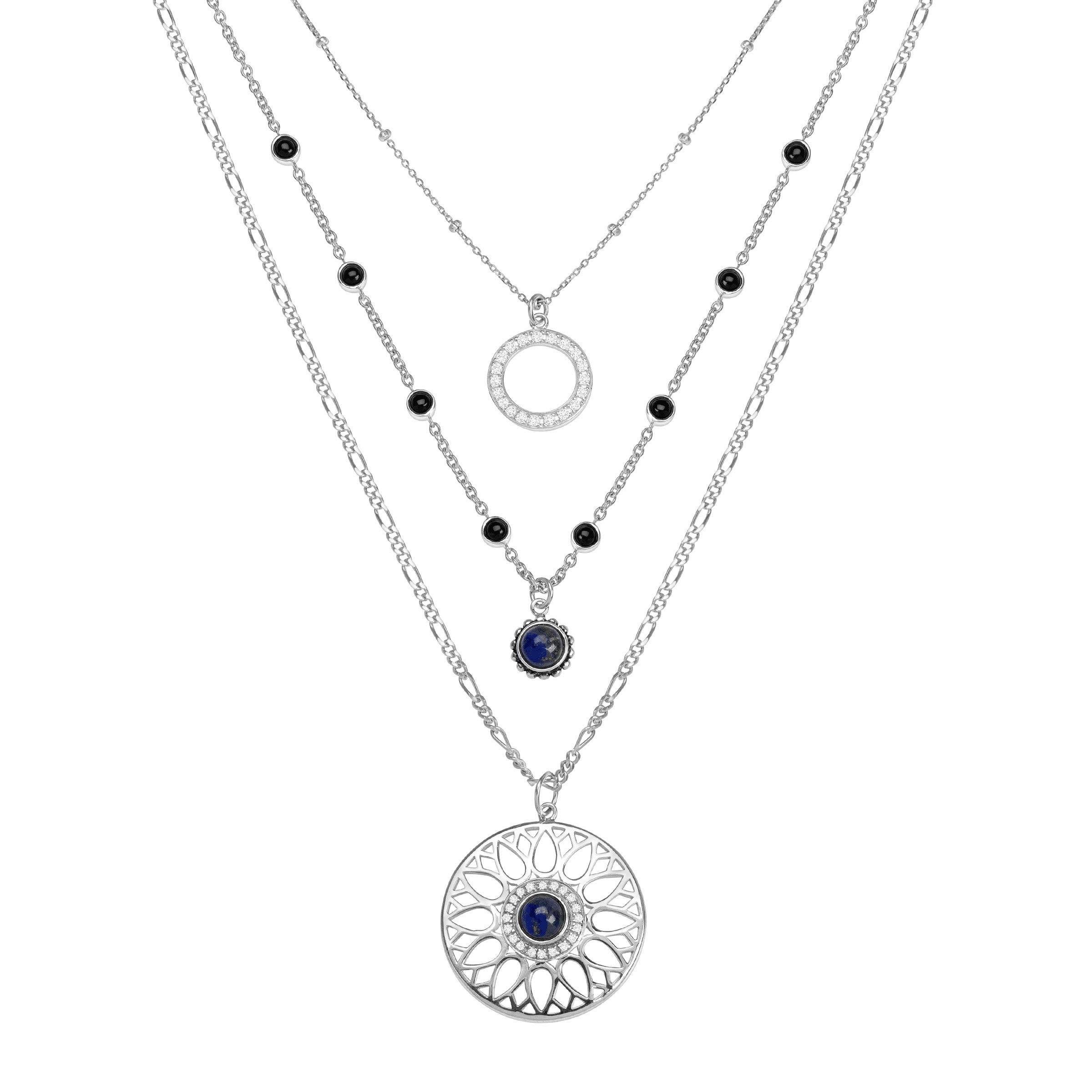 Silpada 'Moonflower' 3 1/5 ct Natural Black Agate, Lapis, CZ Layered Necklace in Sterling Silver