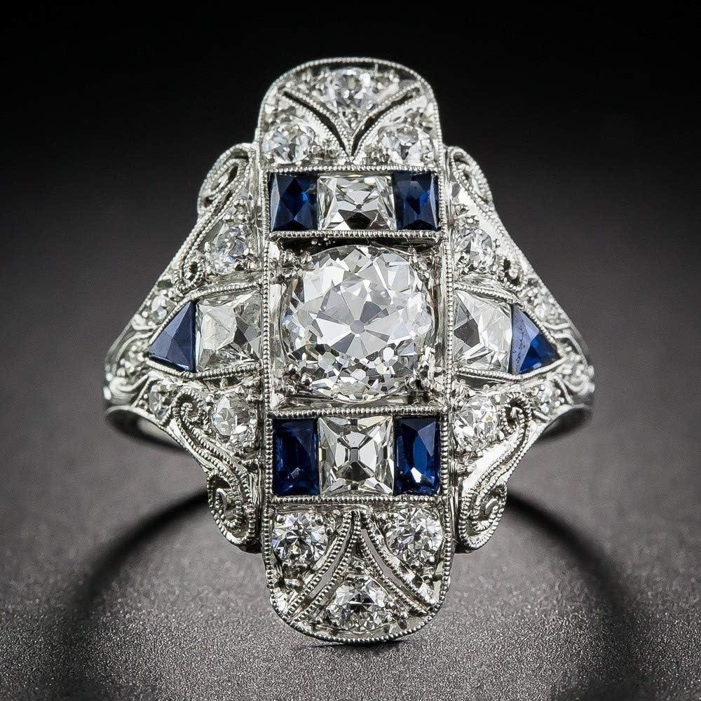 BSGSH Luxury Ring Womens Girls Vintage Cubic Zirconia Rhinestone Band Ring Jewelry Gifts