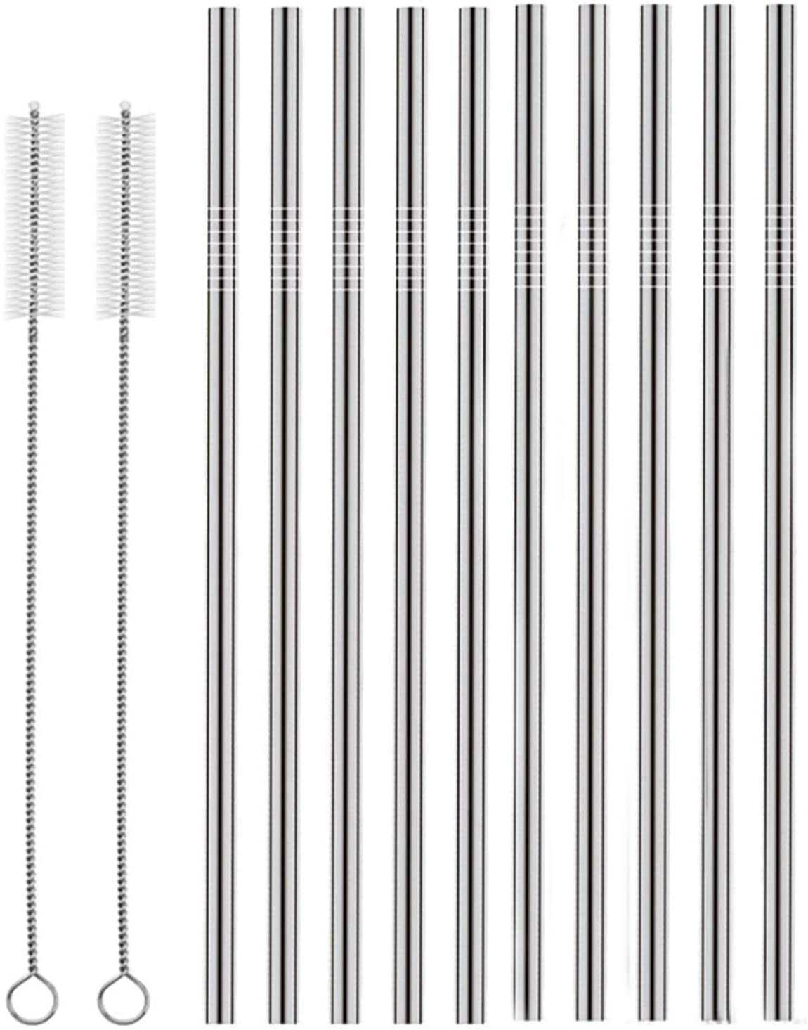 """5 PCS Food-Grade 304 Stainless Steel Straws Metal Straw Easy to Clean 8.5/"""""""
