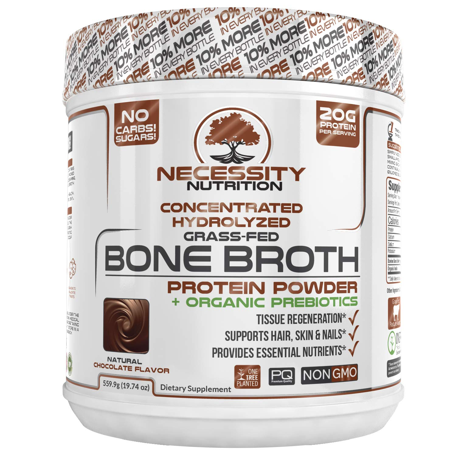 Bone Broth Chocolate Protein Powder - Natural & Pure | Paleo & Keto Friendly | Gluten Free, Low Carb & Non GMO Grass Fed Pasture Raised Bovine - Premium Gut Health by Necessity Nutrition
