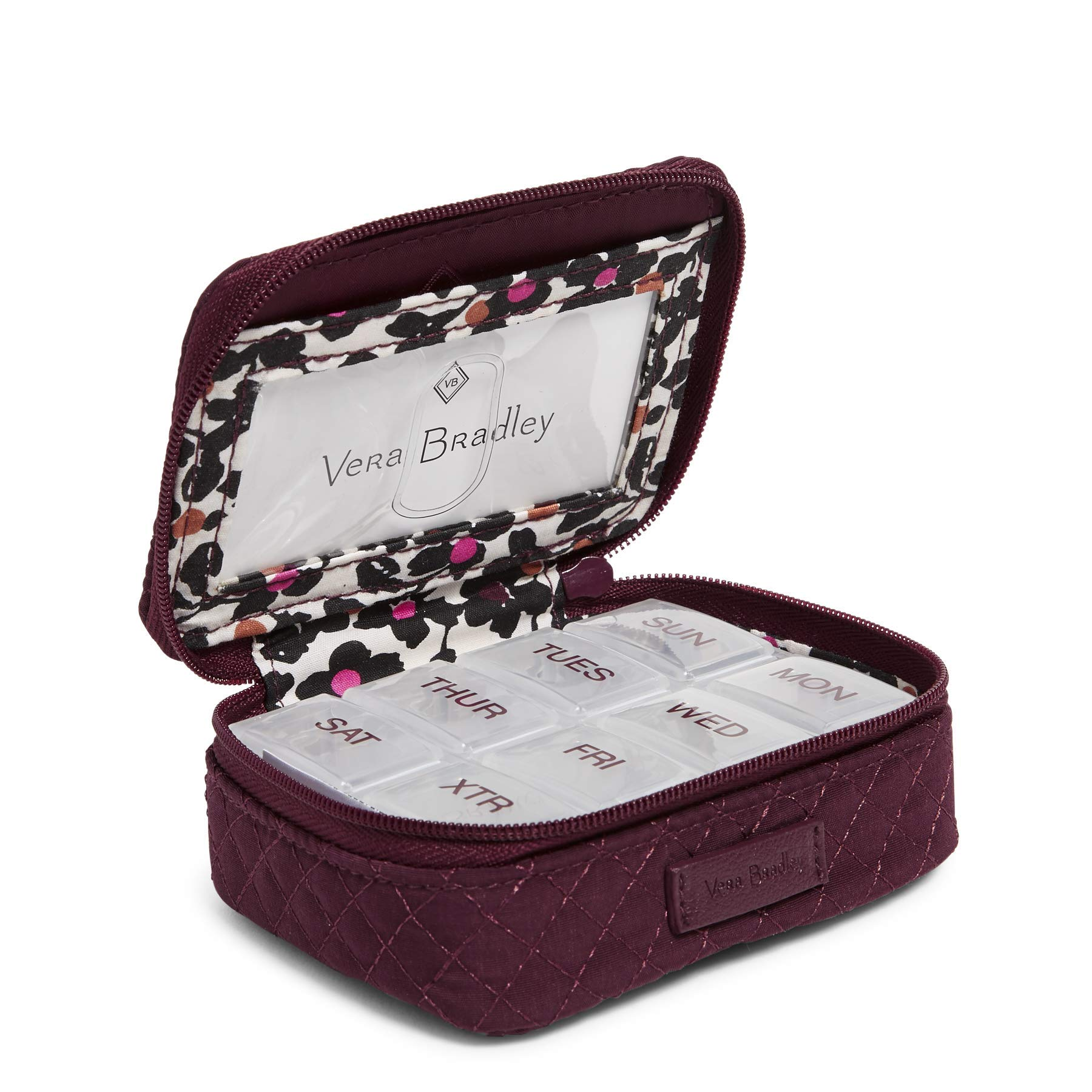 Vera Bradley Iconic Travel Pill Case, Microfiber, Mulled Wine by Vera Bradley